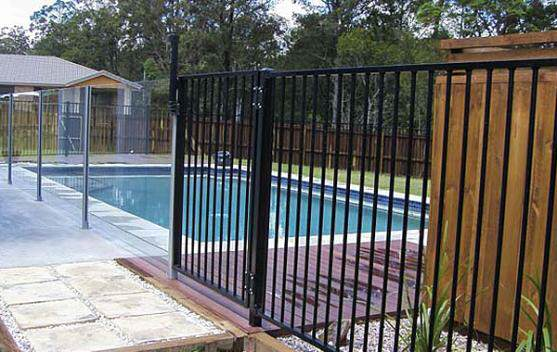 Aluminium pool fence in Dulux black powder coating done for a suburban Adelaide client