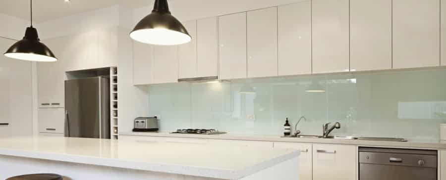 Clear glass splashback done for a client's kitchen in Adelaide suburbs